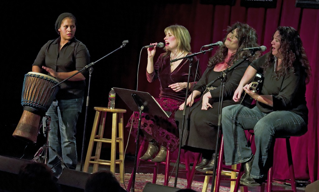 hONEyhoUSe—Savannah Thomas, Mandy Buchanan, Hillary Smith, and Yvonne Perea—in concert at the Outpost in 2013.