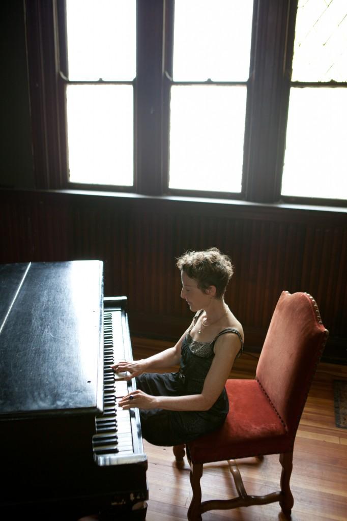 Myra Melford at the piano. Photo by Michael Wilson.