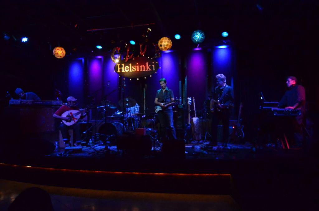 Club d'Elf at Club Helsinki: John Medeski,  Brahim Fribgane, Dean Johnston, Mike Rivard, Duke Levine, Mister Rourke. Photo by Andrew Janjigian.
